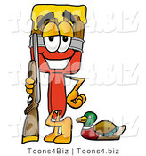 Illustration of a Cartoon Paint Brush Mascot Duck Hunting, Standing with a Rifle and Duck by Toons4Biz