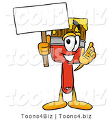 Illustration of a Cartoon Paint Brush Mascot Holding a Blank Sign by Toons4Biz