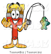Illustration of a Cartoon Paint Brush Mascot Holding a Fish on a Fishing Pole by Toons4Biz