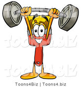 Illustration of a Cartoon Paint Brush Mascot Holding a Heavy Barbell Above His Head by Toons4Biz