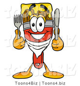 Illustration of a Cartoon Paint Brush Mascot Holding a Knife and Fork by Toons4Biz