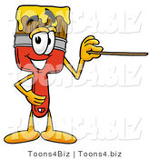 Illustration of a Cartoon Paint Brush Mascot Holding a Pointer Stick by Toons4Biz