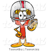 Illustration of a Cartoon Paint Brush Mascot in a Helmet, Holding a Football by Toons4Biz