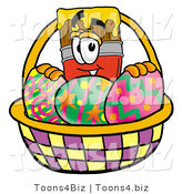 Illustration of a Cartoon Paint Brush Mascot in an Easter Basket Full of Decorated Easter Eggs by Toons4Biz