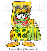Illustration of a Cartoon Paint Brush Mascot in Green and Yellow Snorkel Gear by Toons4Biz