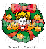 Illustration of a Cartoon Paint Brush Mascot in the Center of a Christmas Wreath by Toons4Biz