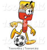 Illustration of a Cartoon Paint Brush Mascot Kicking a Soccer Ball by Toons4Biz