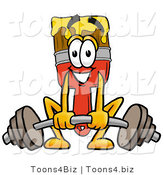 Illustration of a Cartoon Paint Brush Mascot Lifting a Heavy Barbell by Toons4Biz