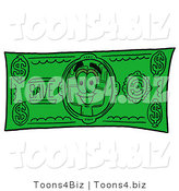 Illustration of a Cartoon Paint Brush Mascot on a Dollar Bill by Toons4Biz