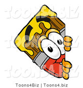 Illustration of a Cartoon Paint Brush Mascot Peeking Around a Corner by Toons4Biz