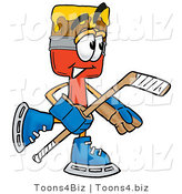 Illustration of a Cartoon Paint Brush Mascot Playing Ice Hockey by Toons4Biz