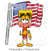Illustration of a Cartoon Paint Brush Mascot Pledging Allegiance to an American Flag by Toons4Biz
