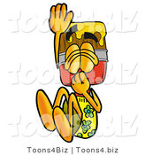 Illustration of a Cartoon Paint Brush Mascot Plugging His Nose While Jumping into Water by Toons4Biz
