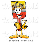 Illustration of a Cartoon Paint Brush Mascot Pointing at the Viewer by Toons4Biz