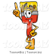Illustration of a Cartoon Paint Brush Mascot Pointing Upwards by Toons4Biz