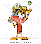 Illustration of a Cartoon Paint Brush Mascot Preparing to Hit a Tennis Ball by Toons4Biz