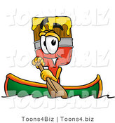 Illustration of a Cartoon Paint Brush Mascot Rowing a Boat by Toons4Biz
