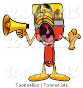 Illustration of a Cartoon Paint Brush Mascot Screaming into a Megaphone by Toons4Biz