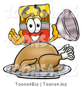 Illustration of a Cartoon Paint Brush Mascot Serving a Thanksgiving Turkey on a Platter by Toons4Biz