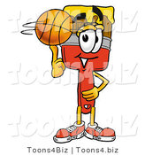 Illustration of a Cartoon Paint Brush Mascot Spinning a Basketball on His Finger by Toons4Biz