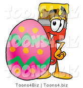Illustration of a Cartoon Paint Brush Mascot Standing Beside an Easter Egg by Toons4Biz