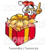 Illustration of a Cartoon Paint Brush Mascot Standing by a Christmas Present by Toons4Biz