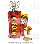 Illustration of a Cartoon Paint Brush Mascot Standing with a Lit Stick of Dynamite by Toons4Biz