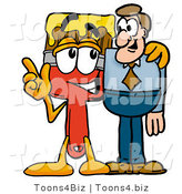 Illustration of a Cartoon Paint Brush Mascot Talking to a Business Man by Toons4Biz