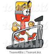 Illustration of a Cartoon Paint Brush Mascot Walking on a Treadmill in a Fitness Gym by Toons4Biz