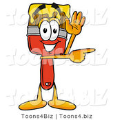 Illustration of a Cartoon Paint Brush Mascot Waving and Pointing by Toons4Biz