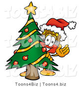Illustration of a Cartoon Paint Brush Mascot Waving and Standing by a Decorated Christmas Tree by Toons4Biz