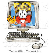 Illustration of a Cartoon Paint Brush Mascot Waving from Inside a Computer Screen by Toons4Biz