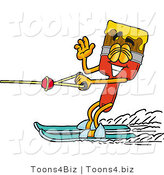 Illustration of a Cartoon Paint Brush Mascot Waving While Water Skiing by Toons4Biz