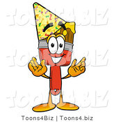 Illustration of a Cartoon Paint Brush Mascot Wearing a Birthday Party Hat by Toons4Biz