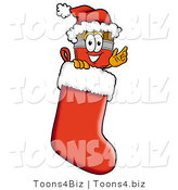 Illustration of a Cartoon Paint Brush Mascot Wearing a Santa Hat Inside a Red Christmas Stocking by Toons4Biz