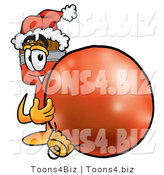 Illustration of a Cartoon Paint Brush Mascot Wearing a Santa Hat, Standing with a Christmas Bauble by Toons4Biz