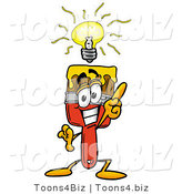 Illustration of a Cartoon Paint Brush Mascot with a Bright Idea by Toons4Biz