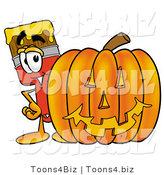 Illustration of a Cartoon Paint Brush Mascot with a Carved Halloween Pumpkin by Toons4Biz