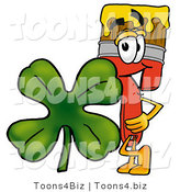 Illustration of a Cartoon Paint Brush Mascot with a Green Four Leaf Clover on St Paddy's or St Patricks Day by Toons4Biz