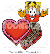 Illustration of a Cartoon Paint Brush Mascot with an Open Box of Valentines Day Chocolate Candies by Toons4Biz