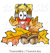Illustration of a Cartoon Paint Brush Mascot with Autumn Leaves and Acorns in the Fall by Toons4Biz