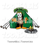Illustration of a Cartoon Palm Tree Mascot Camping with a Tent and Fire by Toons4Biz
