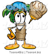 Illustration of a Cartoon Palm Tree Mascot Catching a Baseball with a Glove by Toons4Biz