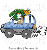 Illustration of a Cartoon Palm Tree Mascot Driving a Blue Car and Waving by Toons4Biz