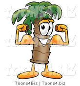 Illustration of a Cartoon Palm Tree Mascot Flexing His Arm Muscles by Toons4Biz