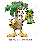Illustration of a Cartoon Palm Tree Mascot Holding a Dollar Bill by Toons4Biz