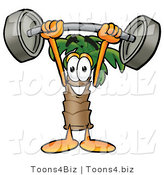 Illustration of a Cartoon Palm Tree Mascot Holding a Heavy Barbell Above His Head by Toons4Biz