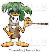 Illustration of a Cartoon Palm Tree Mascot Holding a Pointer Stick by Toons4Biz