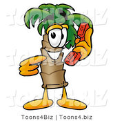 Illustration of a Cartoon Palm Tree Mascot Holding a Telephone by Toons4Biz