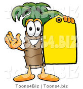 Illustration of a Cartoon Palm Tree Mascot Holding a Yellow Sales Price Tag by Toons4Biz